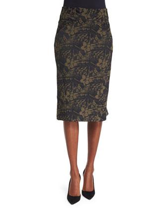 Floral-Print Pencil Skirt, Hazel