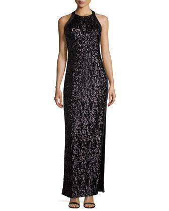 Halter-Neck Embellished Gown, Black