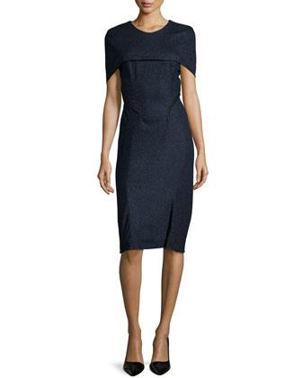 Short-Sleeve Round-Neck Sheath Dress, Midnight Melange