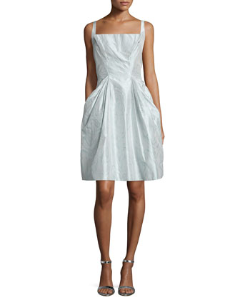 Sleeveless Square-Neck Apron Dress, Ice Blue