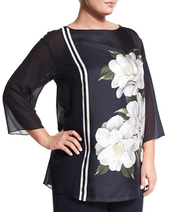 3/4-Sleeve Febo Floral-Print Tunic, Plus Size