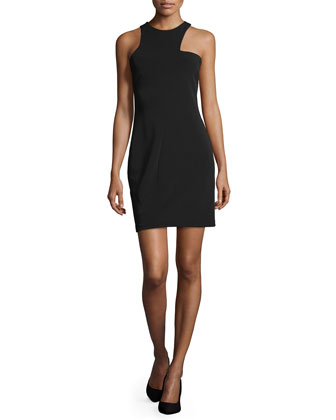 Sleeveless Jewel-Neck Sheath Dress, Black