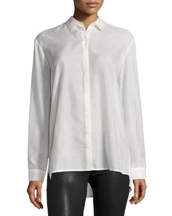 Long-Sleeve Batiste Boyfriend Shirt
