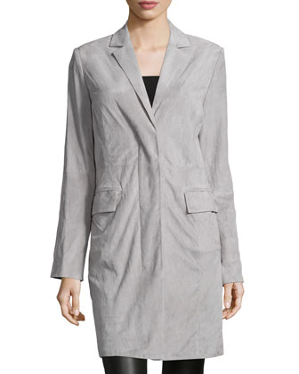Long-Sleeve Suede Cocoon Coat, Mist