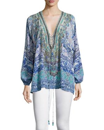 Long-Sleeve Lace-Up Shirt, Temptress Of The Deep