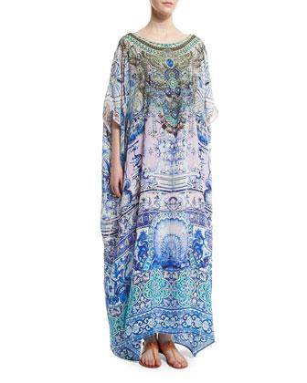 Temptress of the Deep Embellished Caftan, Blue Multi