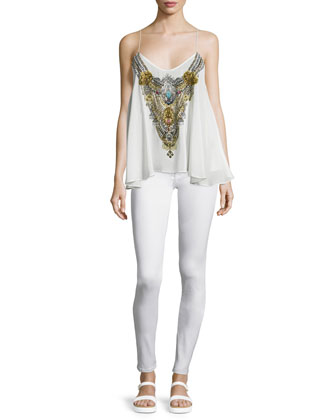 Sleeveless Embellished Flowy Top, White