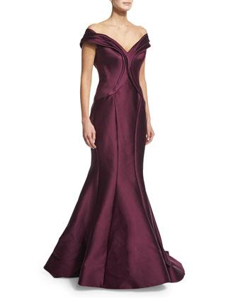 Bardot Mermaid Gown, Amethyst