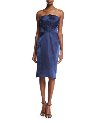 Folded-Bodice Strapless Dress, Navy
