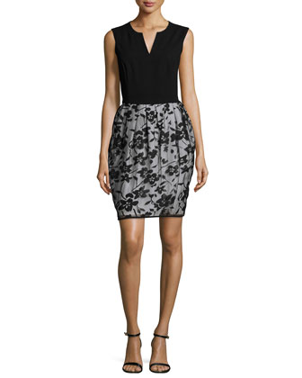 Sleeveless Floral-Print Burnout Dress, Black