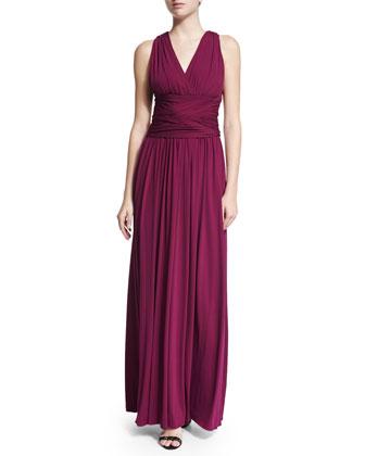 Sleeveless Crisscross-Back Evening Gown, Boysenberry