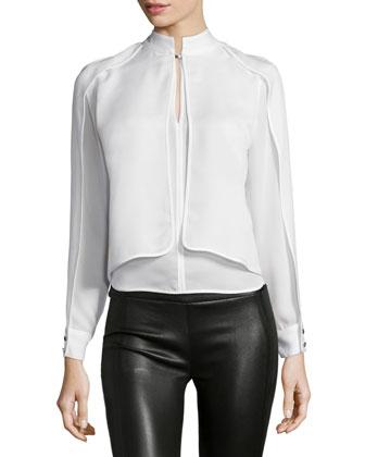 Long-Sleeve Split-Front Blouse, Linen White