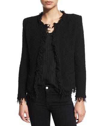 Shavani Open-Front Boucle Jacket, Black