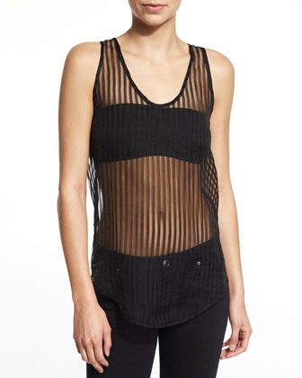 Sian Striped Sheer Tank, Black