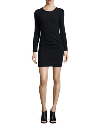 Isabeli Long-Sleeve Mini Dress, Black