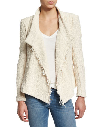 Mira Cotton Moto Jacket, Ecru