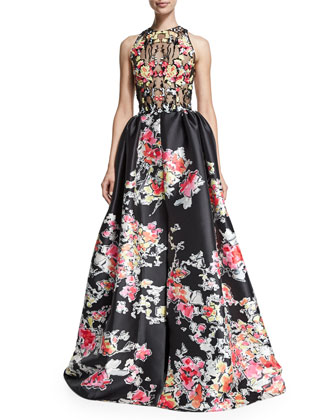 Sleeveless Floral-Print Ball Gown, Floral