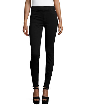 Rich Power Pull-On Skinny Jeans, Luxe Black