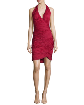 Halter-Neck Basketweave Cocktail Dress, Paprika