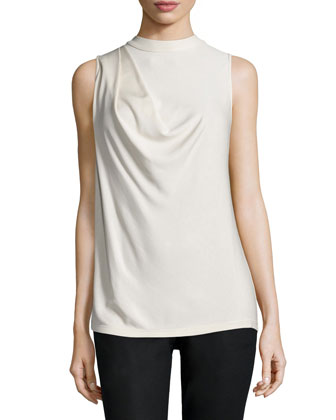 Sleeveless Cowl-Back Top, Dark Bone
