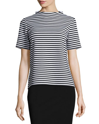 Stand-Collar Striped Short-Sleeve Top, Black