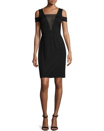 Cold-Shoulder Mesh-Inset Dress, Black