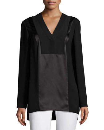 Zelah Long-Sleeve Silk Combo Blouse
