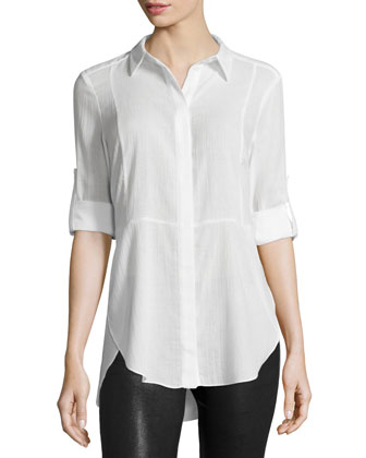 Long-Sleeve Button-Front Shirt, Linen White