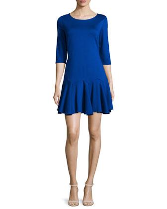 3/4-Sleeve Flounce-Hem Dress, Bright Indigo