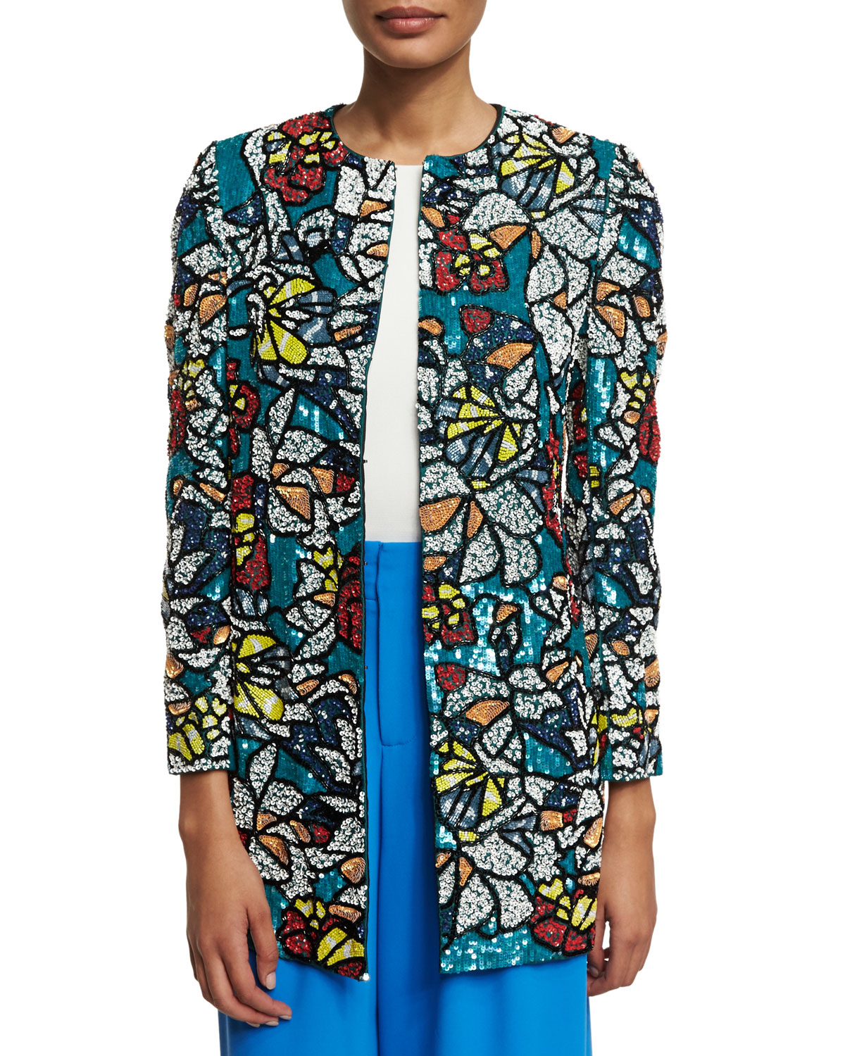 Rory Sequined Coat, Multicolor, Size: LARGE, MULTI COLORS - Alice + Olivia
