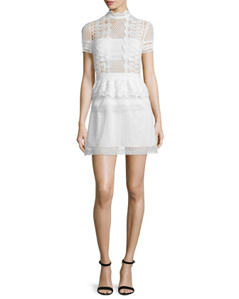 Sculpted Teardrop Peplum Dress, Off White