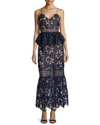 Amaryllis Sheer Lace Column Dress, Navy