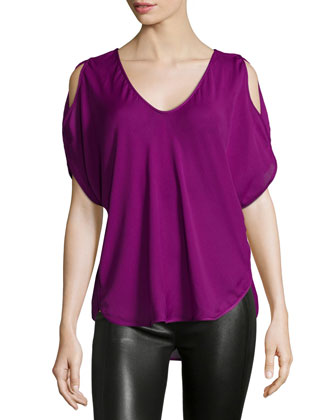 Cold-Shoulder V-Neck Top, Electric Purple