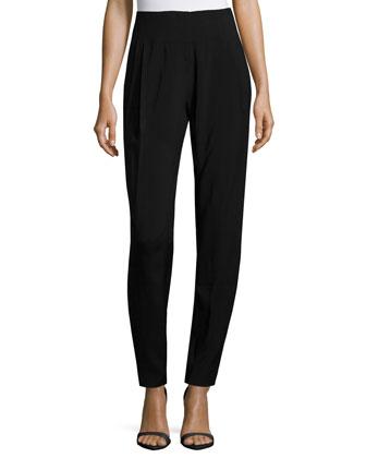 Slim-Leg Ankle Pants, Black