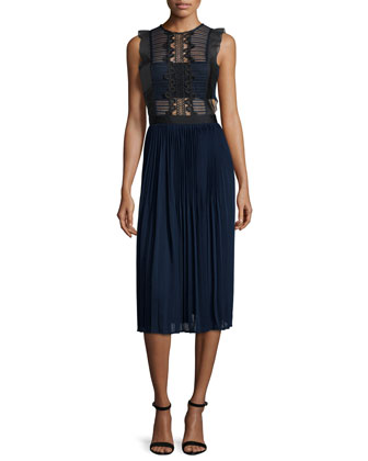 Sleeveless Lace & Pleated Chiffon Dress, Navy/Gray
