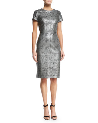 Short-Sleeve Laser-Cut Leather Sheath Dress