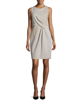 Sleeveless Combo Sheath Dress, Stone