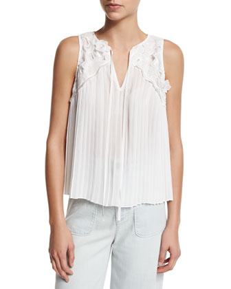 Kyrena Sleeveless Embroidered Pleated Top, Cream
