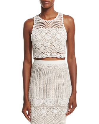 Izzie Sleeveless Crochet Crop Top, Cream