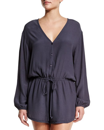 Cozumel Button-Front Romper Coverup