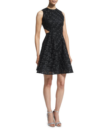 Sleeveless Dafina Metallic A-Line Dress, Black