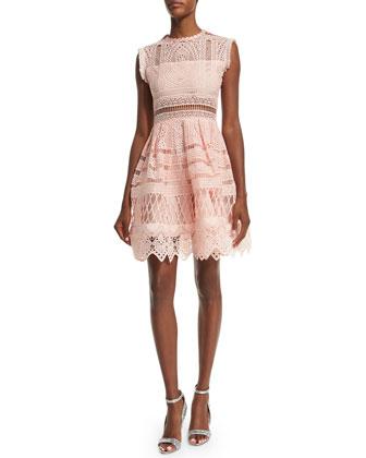 Sage Sleeveless Crochet A-Line Dress, Blossom