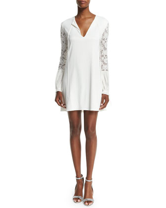 Maxine Lace-Trim Mini Dress, White