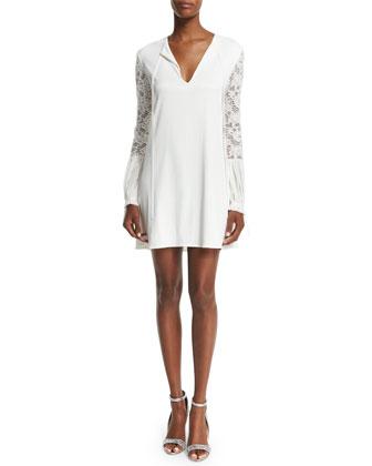 Maxine Lace-Trim Mini Dress, White