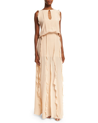 Sleeveless Frances Ruffle-Trim Dress, Blush