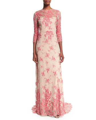Akira Open-Back Lace Gown, Red