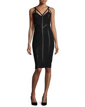 Sleeveless Paneled Dress W/Cutouts, Black