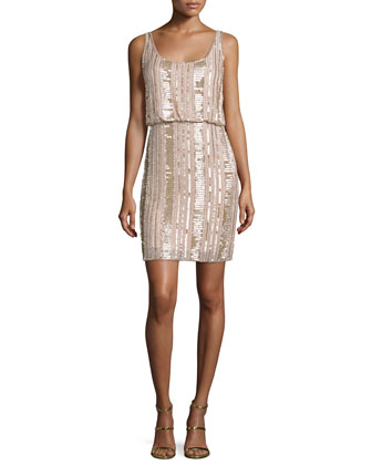 Sleeveless Embellished Blouson Dress, Blush