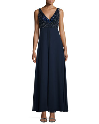 Sleeveless V-Neck Beaded Bodice Gown, Twilight
