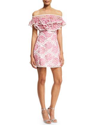 Paula Floral Popover Mini Dress, Pink/White